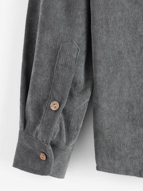 best Solid Color Pocket Corduroy Shirt - DARK GRAY XL Mobile