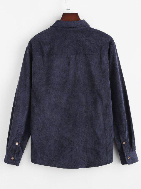Camisa de Pana con Bolsillo de Color Sólido - Cadetblue 3XL Mobile