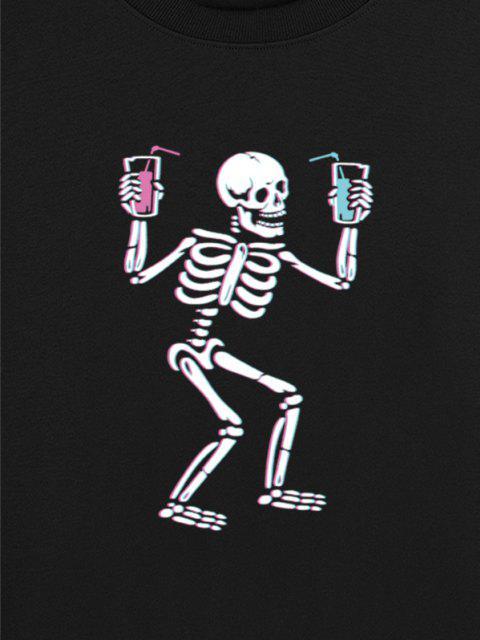 Skeleton Drinking Print Drop Shoulder Sweatshirt - أسود XL Mobile