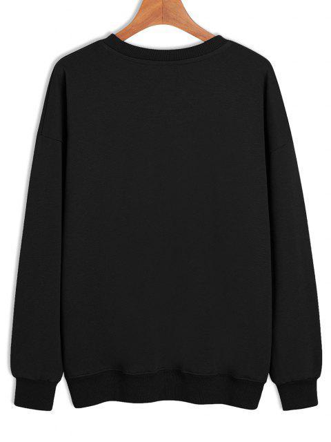 Skeleton Trinkender Druck Fallschulter Sweatshirt - Schwarz XL Mobile