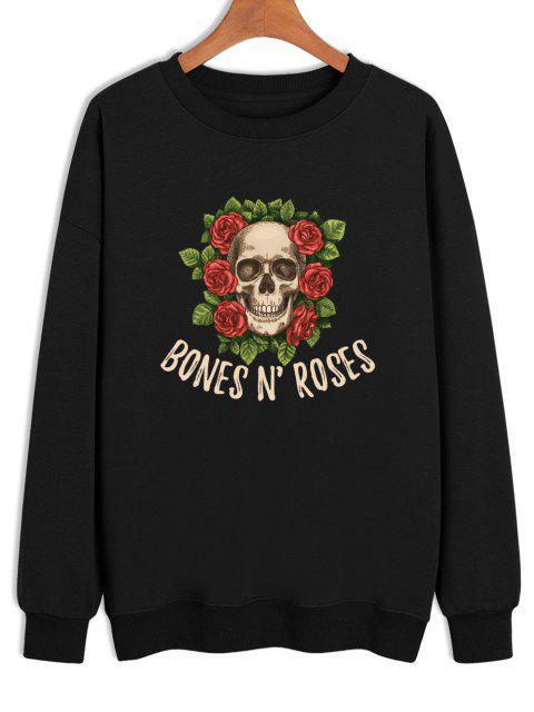 unique BONES N'ROSES Skull Print Crew Neck Sweatshirt - BLACK XL Mobile