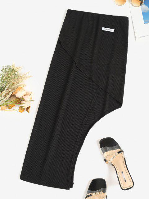 fashion Ribbed Letter Patched Asymmetrical Skirt - BLACK M Mobile