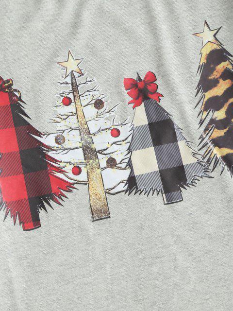 outfits Raglan Sleeve Plaid Christmas Tree Sweatshirt - LIGHT GRAY L Mobile