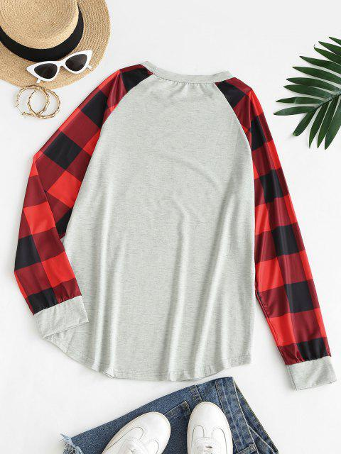 ladies Raglan Sleeve Plaid Christmas Tree Sweatshirt - LIGHT GRAY M Mobile
