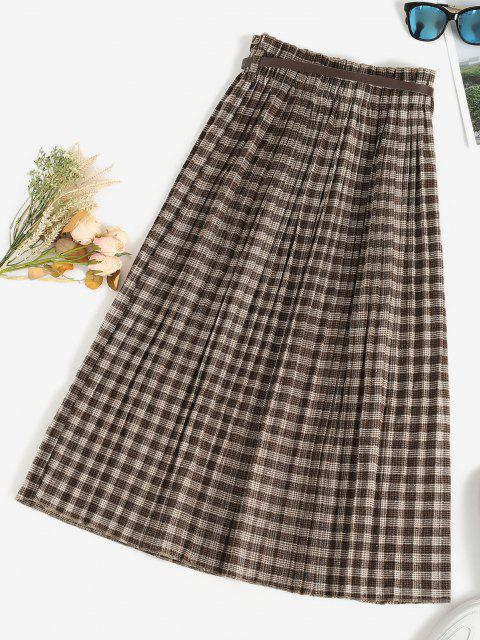 women's Pleated Plaid Belted Midi Skirt - DEEP COFFEE ONE SIZE Mobile