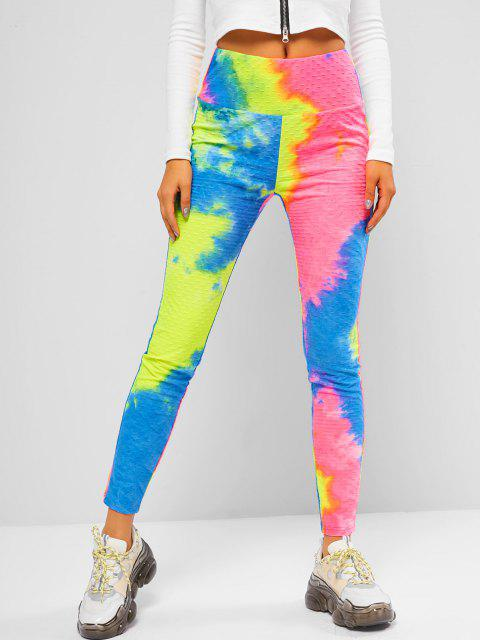 outfit ZAFUL Tie Dye Gym Fitted Leggings - MULTI-A L Mobile
