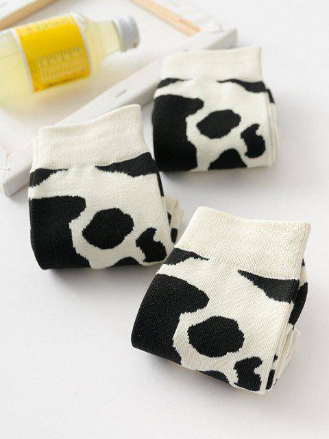 sale 3 Pairs Cow Print Socks Set - MILK WHITE  Mobile