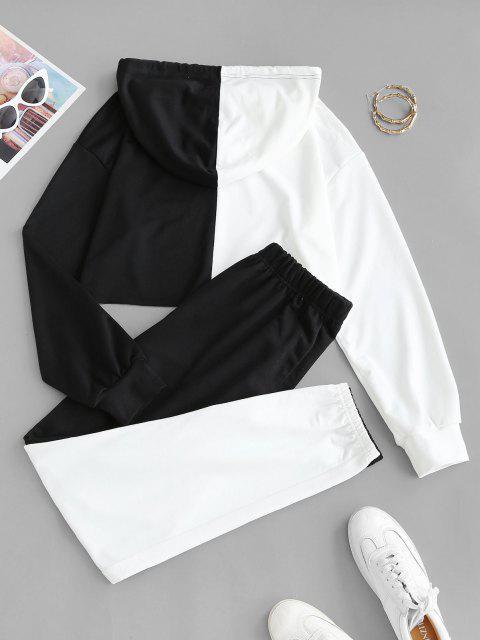 women Raw Hem Two Tone Cropped Sweat Suit - BLACK S Mobile