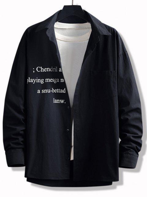 高低レタープリントポケットボタン付きシャツ - ブラック 2XL Mobile