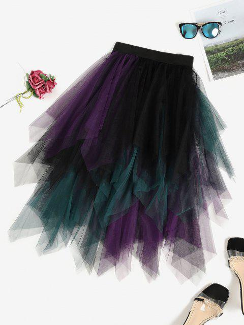 shops Colorblock Mesh Handkerchief Tiered Tutu Skirt - BLACK ONE SIZE Mobile