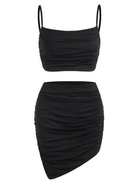 Geraffte Gepunktete Käufer Kleid mit Rüschen - Schwarz S Mobile