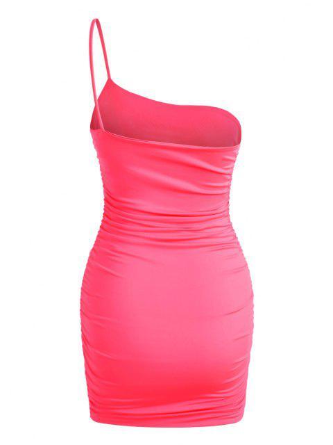 hot Neon One Shoulder Ruched Slinky Dress - LIGHT PINK XL Mobile