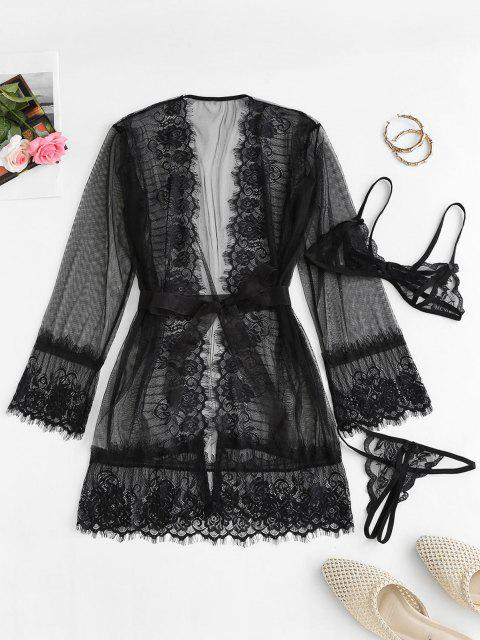 latest Lace Mesh See Thru Sexy Lingerie Robe Set - BLACK ONE SIZE Mobile