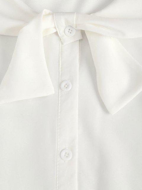 outfits Bowknot Neck Poet Sleeve Button Up Shirt - WHITE S Mobile