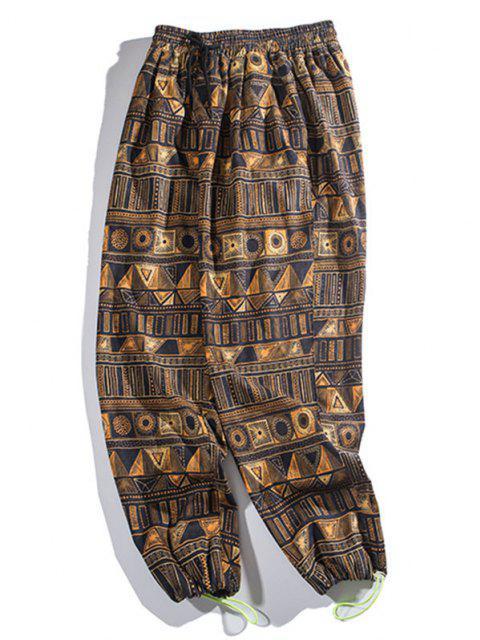 Pantalones Rayados Estampado Geométrico - Bronce L Mobile
