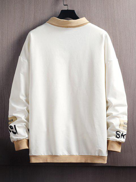 lady Colorblock Letter Print Pullover Sweatshirt - WHITE 3XL Mobile