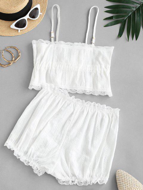 Set de Pijamas de Tirantes Finos con Puntilla Escotada - Blanco L Mobile