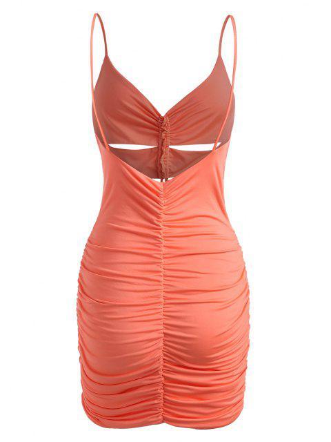 Vestido Fruncido Ceñido de Ojo de Cerradura con Escote Pronunciado en Espalda - Naranja Oscuro S Mobile