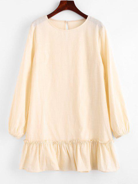 trendy Keyhole Back Flounce Hem Mini Dress - LIGHT YELLOW S Mobile