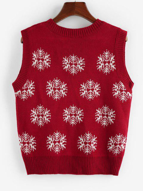 trendy ZAFUL Christmas Snowflake Ribbed Trim Sweater Vest - RED S Mobile