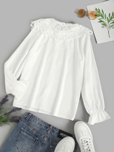 sale Puritan Collar Guipure Insert Poet Sleeve Shirt - WHITE L Mobile