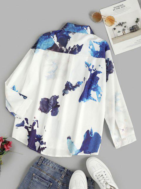 shop Ink Painting Drop Shoulder Button Up Shirt - WHITE XL Mobile