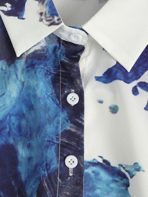womens Ink Painting Drop Shoulder Button Up Shirt - WHITE M Mobile