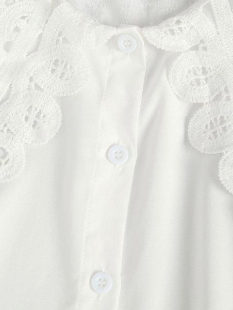 ladies Puritan Collar Guipure Insert Poet Sleeve Shirt - WHITE XL Mobile
