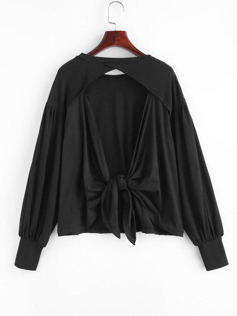 T-shirt Noué au Dos Ouvert à Manches Lanternes - Noir M Mobile