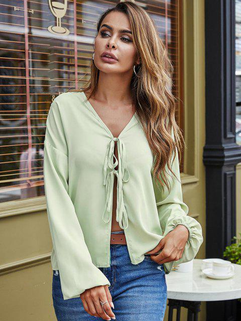 ladies Ties V Neck Lantern Sleeve Blouse - GREEN XL Mobile