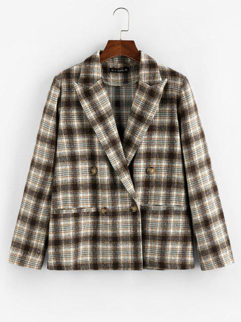 hot ZAFUL Plaid Double Breasted Lapel Blazer - DEEP COFFEE M Mobile