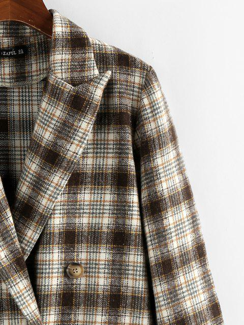 outfits ZAFUL Plaid Double Breasted Lapel Blazer - DEEP COFFEE S Mobile