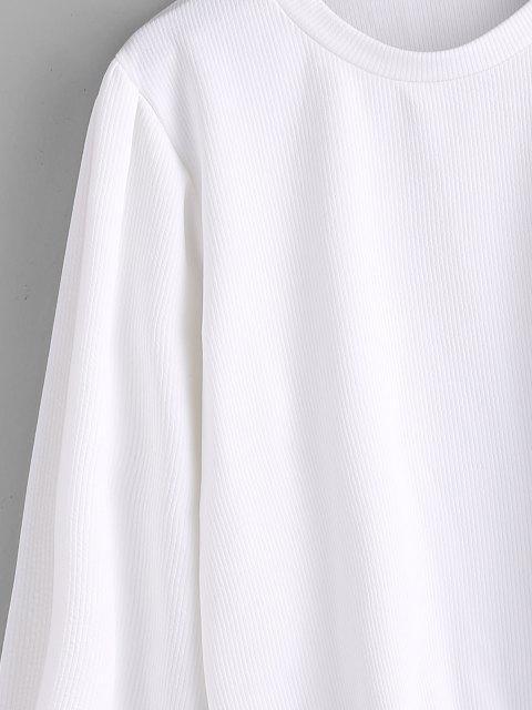 Haut Côtelé Simple à Manches Lanternes - Blanc XL Mobile