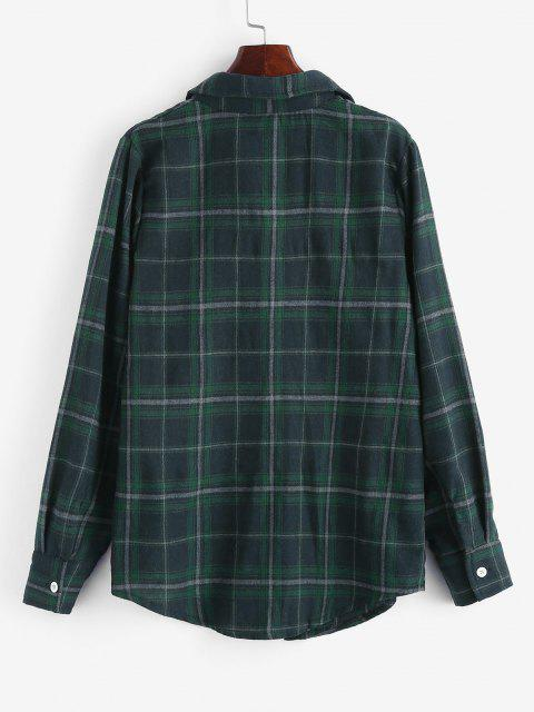 latest Long Button Down Plaid Tartan Shirt - DEEP GREEN S Mobile