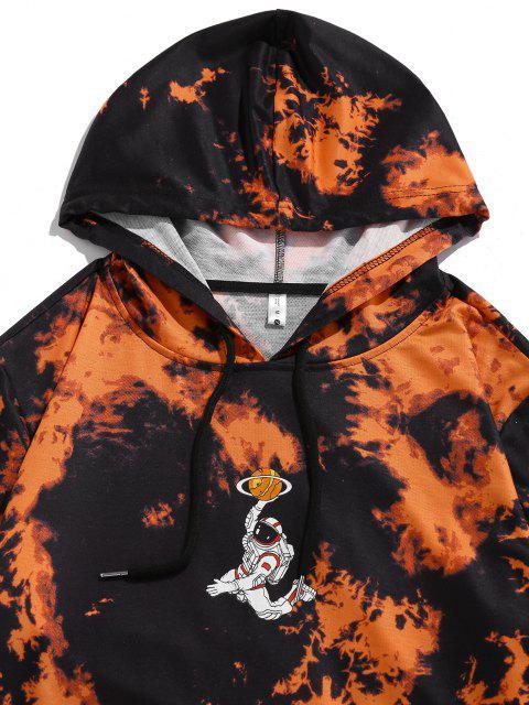 ZAFUL Krawattenfärbende Astronaut Muster Känguru Tasche Hoodie - Orange 2XL Mobile