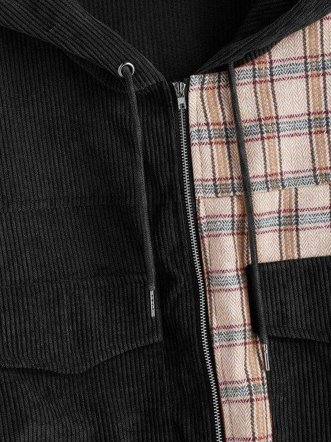 outfit Hooded Plaid Panel Corduroy Jacket - BLACK L Mobile