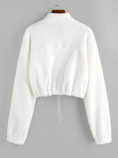 ZAFUL Sweat-shirt Court à Demi-Zip en Peluche - Blanc M Mobile
