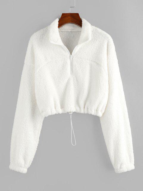 unique ZAFUL Half Zip Plush Cropped Sweatshirt - WHITE L Mobile
