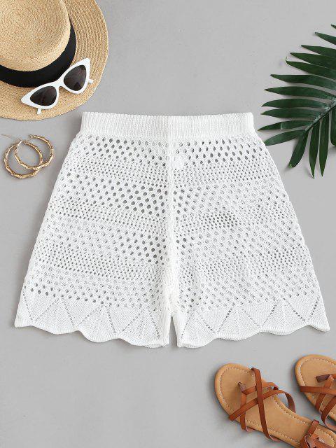 chic Drawstring Crocheted Shorts - WHITE XL Mobile