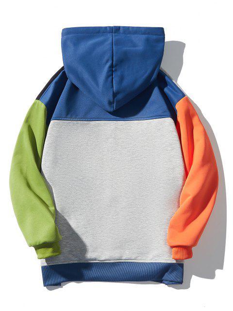 Veste à Capuche Jointif Lettre Imprimée en Blocs de Couleurs - Multi-B XL Mobile