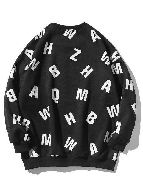 new Letter Allover Print Crew Neck Sweatshirt - BLACK XL Mobile