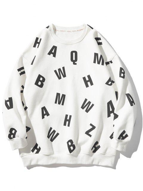 latest Letter Allover Print Crew Neck Sweatshirt - WHITE XL Mobile