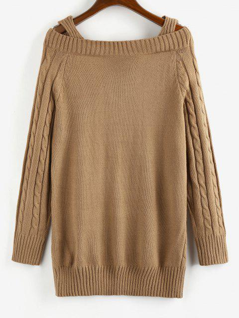 outfits ZAFUL Cable Knit Cold Shoulder V Neck Sweater Dress - COFFEE L Mobile