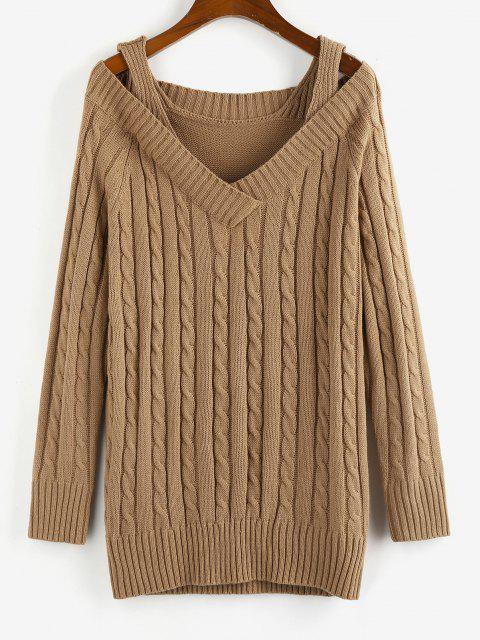 latest ZAFUL Cable Knit Cold Shoulder V Neck Sweater Dress - COFFEE M Mobile