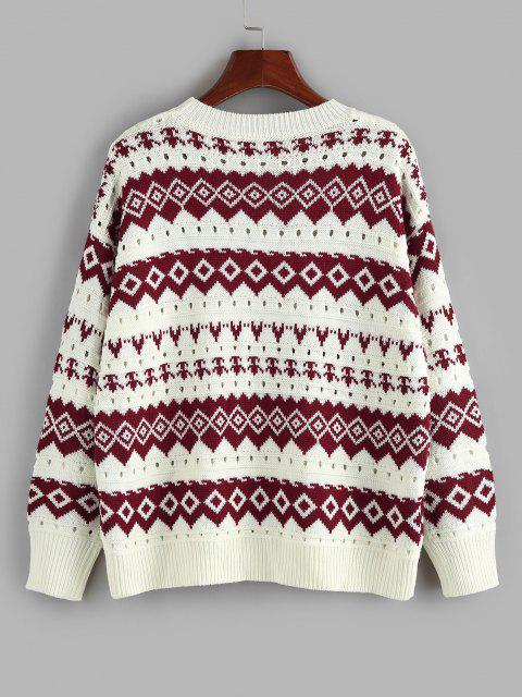 unique ZAFUL Geo Drop Shoulder Pointelle Knit Sweater - DEEP RED S Mobile