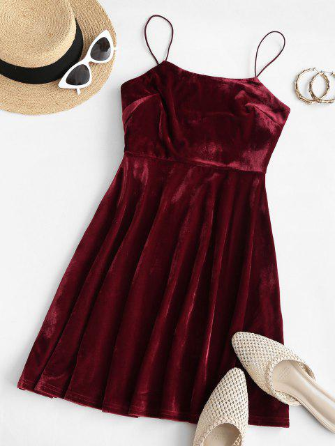 buy ZAFUL Thin Straps Velvet Mini A Line Dress - RED WINE L Mobile
