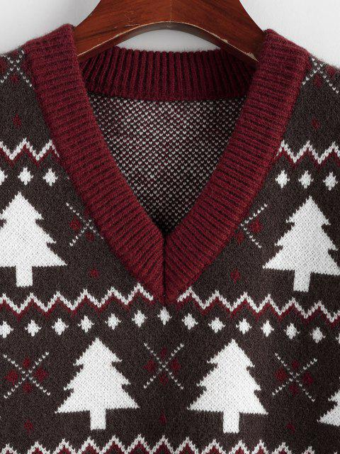 lady ZAFUL Christmas Tree V Neck Ribbed Trim Sweater Vest - DEEP RED L Mobile