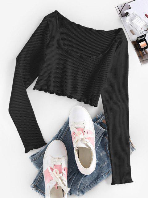 fashion ZAFUL Ribbed Lettuce Trim Crop T-shirt - BLACK L Mobile
