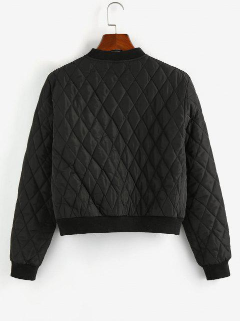 ZAFUL Quilted Zip Up Baseball Jacket - أسود S Mobile