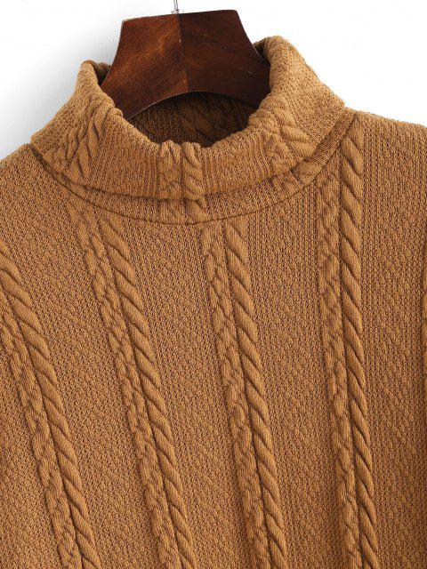 womens ZAFUL  Turtleneck Cable Knit Cropped Sweater - LIGHT COFFEE S Mobile